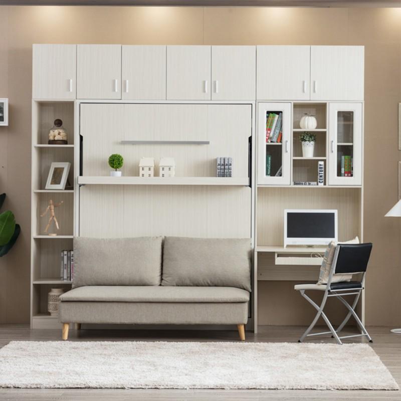 Shelf Detached Sofa Queen Vertical Hidden Wall Bed E Saving Foldable Murphy Qv 101d