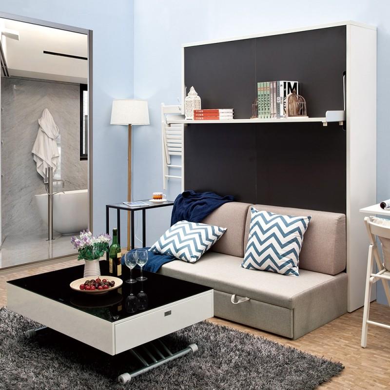 Shelf + Attached Sofa + Queen Vertical Hidden Wall Bed ...